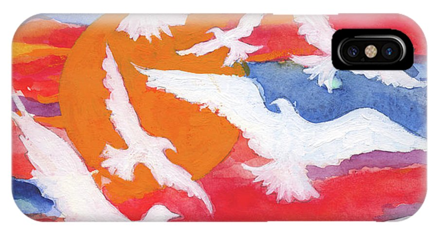 Doves IPhone X / XS Case featuring the painting Seven Gifts Of The Holy Spirit by Lynne Beard