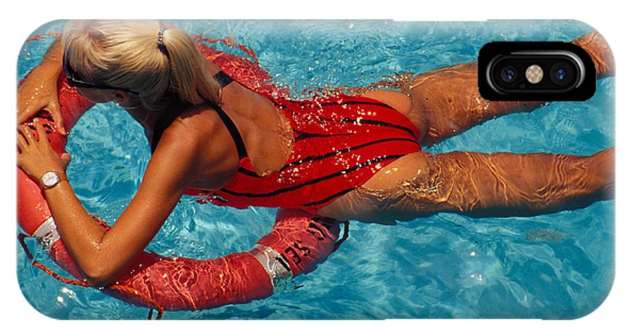 Swim IPhone X Case featuring the photograph Sexy Red Bikini by Carl Purcell