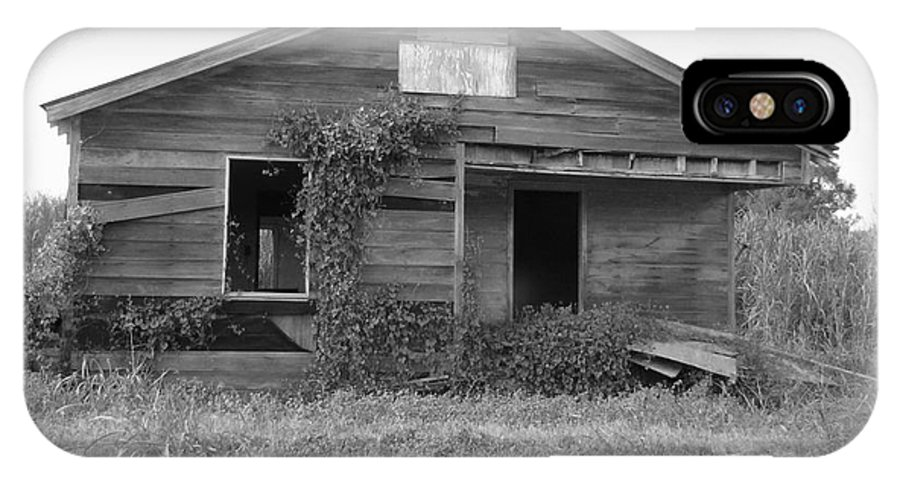Black And White IPhone X Case featuring the photograph Shack Barn by Michelle Powell