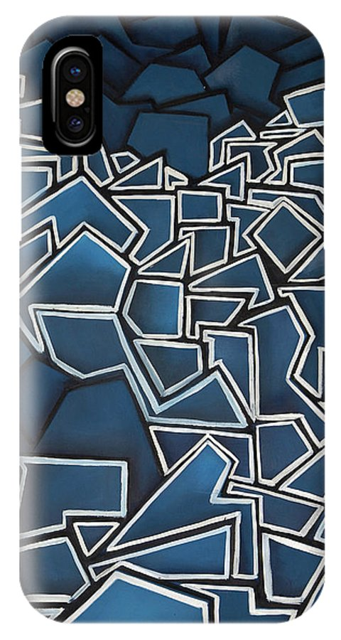 Abstract IPhone X Case featuring the painting Shadderd Space by Thomas Valentine