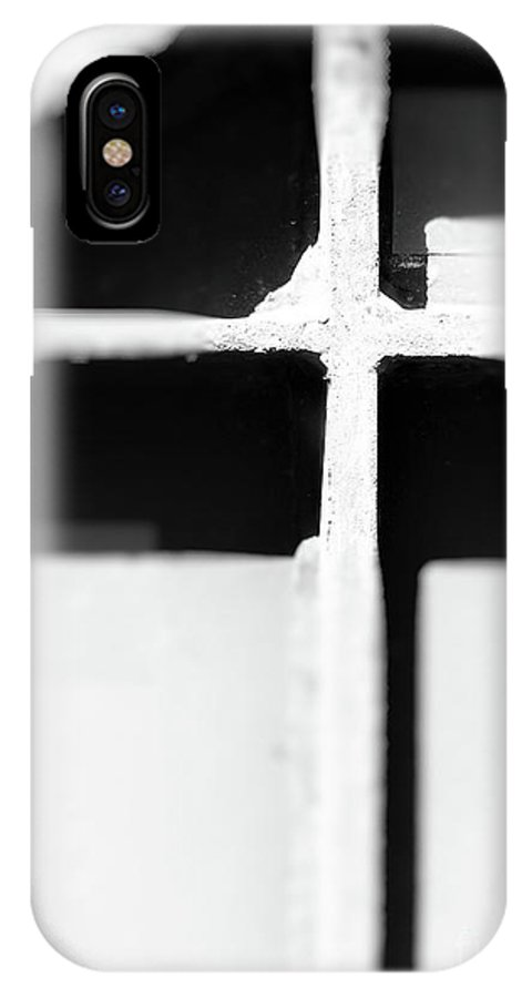 Abstract IPhone X / XS Case featuring the photograph Shaded Cross by Fei A