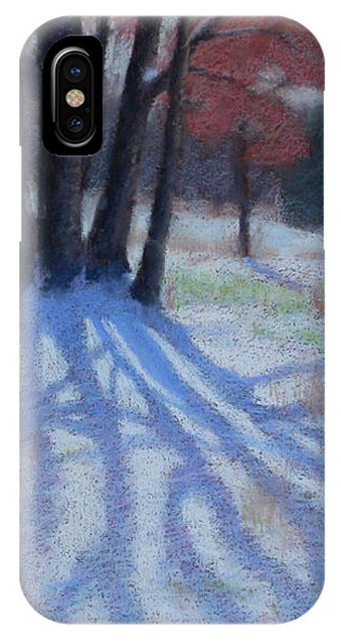 Snowy Blue Shadows IPhone X Case featuring the painting Shadow Catcher by Julie Mayser