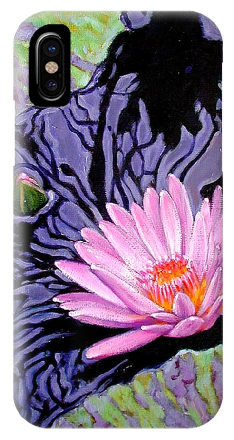 Water Lily IPhone X Case featuring the painting Shadow Reflections by John Lautermilch