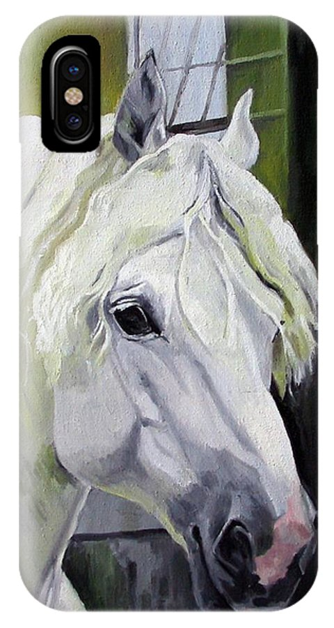 Horse IPhone X Case featuring the painting Shadowfax by Nel Kwiatkowska