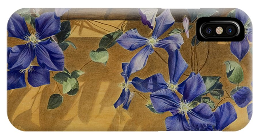 Clematis IPhone X Case featuring the painting Shadows Dancing by Nik Helbig
