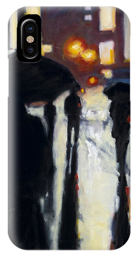 Rob Reeves IPhone X Case featuring the painting Shadows In The Rain by Robert Reeves