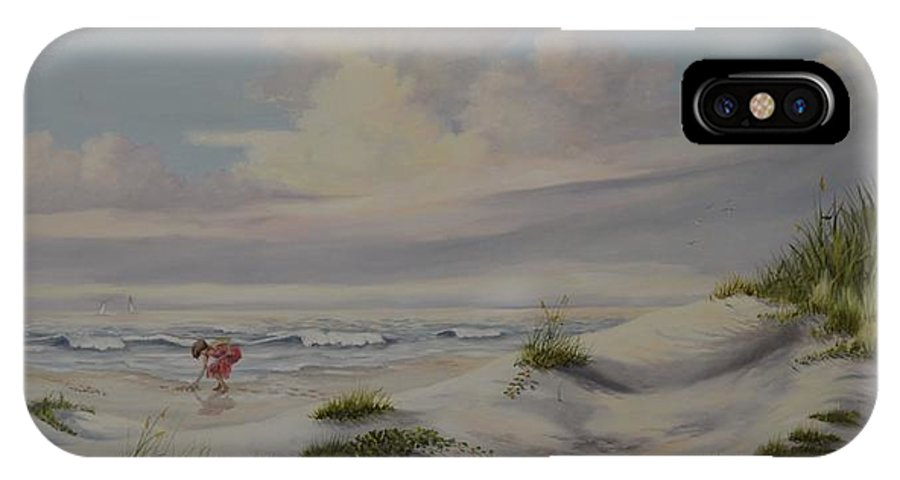 Landscape IPhone X Case featuring the painting Shadows In The Sand Dunes by Wanda Dansereau