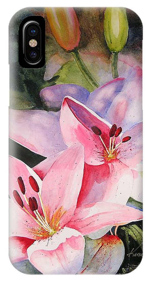 Lilies IPhone X Case featuring the painting Shady Ladies by Karen Stark