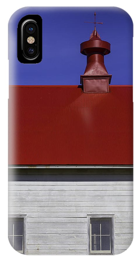 Shaker IPhone X Case featuring the photograph Shaker Red Roof by Garry Gay