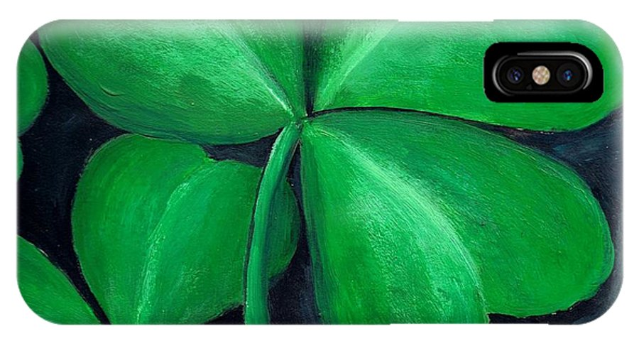Shamrock IPhone X Case featuring the painting Shamrocks by Nancy Mueller