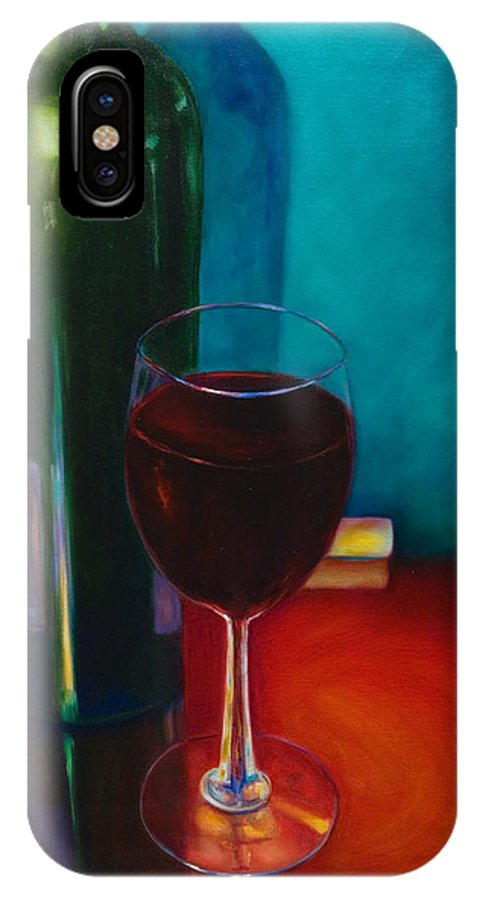 Wine Bottle IPhone X Case featuring the painting Shannon's Red by Shannon Grissom