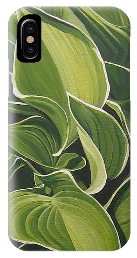 Closeup Of Hosta Plant IPhone X Case featuring the painting Shapes That Go Together by Hunter Jay