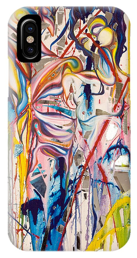 Abstract IPhone X Case featuring the painting Shards by Sheridan Furrer