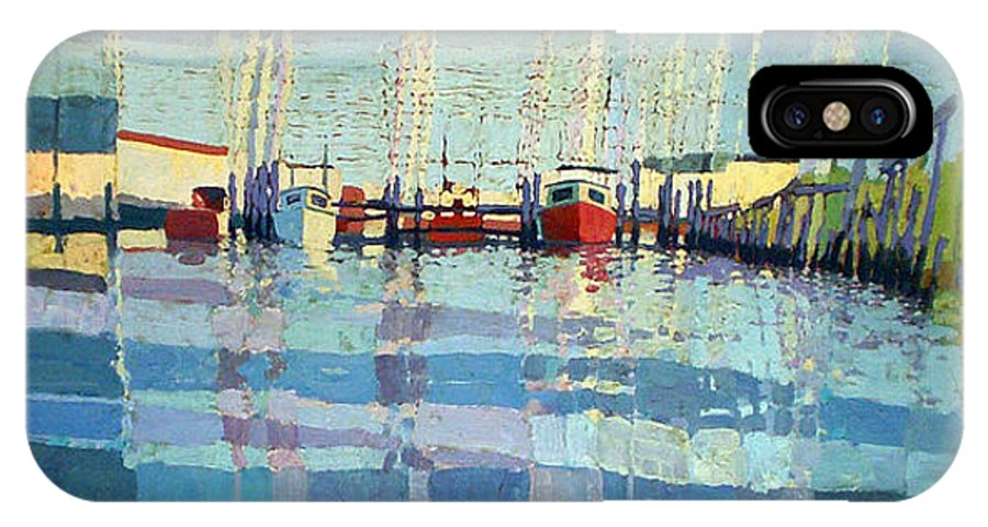 Belmar Inlet IPhone X / XS Case featuring the painting Shark River Inlet by Donald Maier