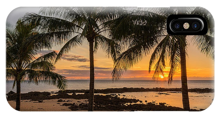 Sharks Cove Palm Tree Sunset Beach North Shore Oahu Hawaii Hi Seascape IPhone X Case featuring the photograph Sharks Cove Sunset 4 - Oahu Hawaii by Brian Harig