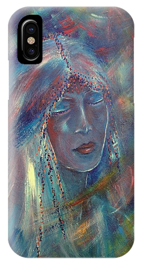 Face IPhone X Case featuring the painting She Dreams In Color by Robin Monroe