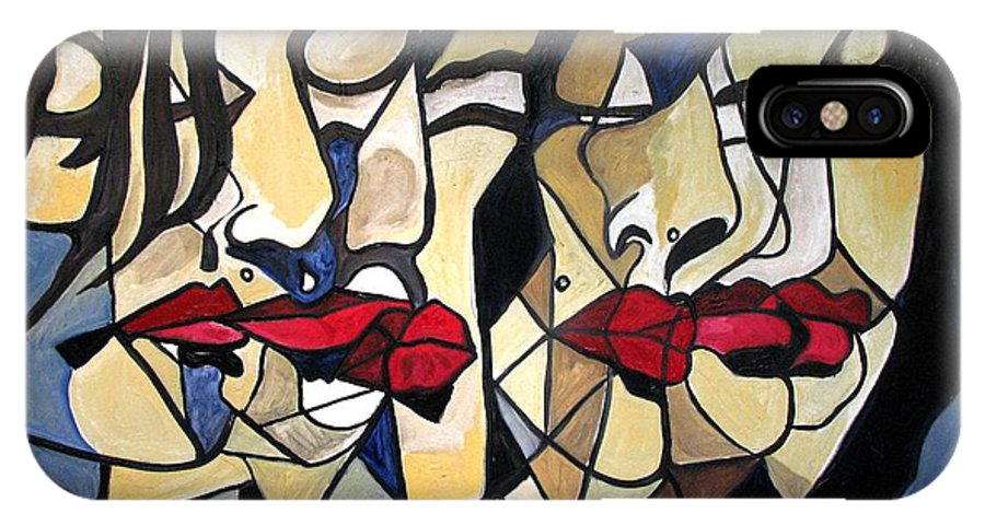 Abstract IPhone X Case featuring the painting She Had Red Lips by Patricia Arroyo