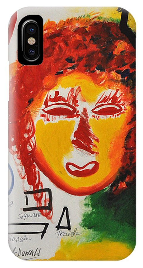 Mixed Media IPhone X Case featuring the painting She by Luis McDonald