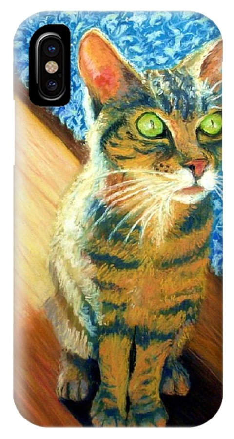 Cat IPhone Case featuring the painting She Wants To Be Famous by Minaz Jantz