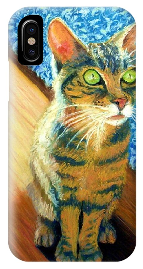 Cat IPhone X Case featuring the painting She wants to be FAMOUS by Minaz Jantz