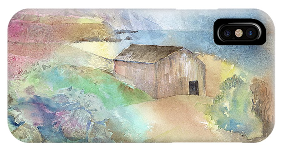 Shed IPhone X Case featuring the painting Shed By A Lake In Ireland by Arline Wagner