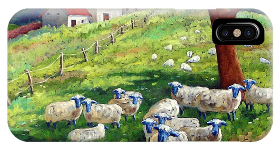 Sheep IPhone X Case featuring the painting Sheeps In A Field by Richard T Pranke