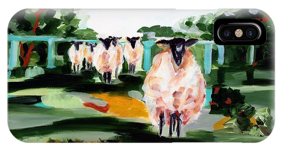 Abstract Landscape IPhone X Case featuring the painting Sheeps by Lidija Ivanek - SiLa