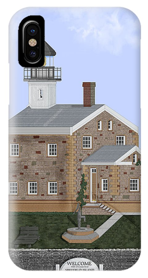 Lighthouse IPhone X Case featuring the painting Sheffield Island Lighthouse Connecticut by Anne Norskog