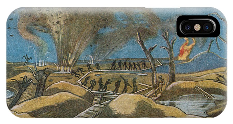 World War One IPhone X Case featuring the painting Shelling The Duckboards by Paul Nash