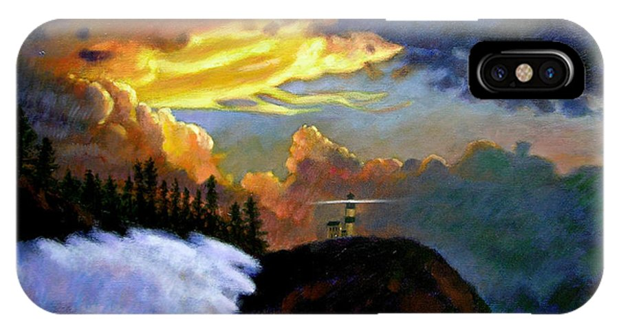 Ocean IPhone X / XS Case featuring the painting Shelter From The Storm by John Lautermilch