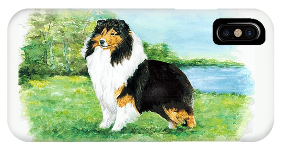 Shetland Sheepdog IPhone X / XS Case featuring the painting Sheltie Wait by Kathleen Sepulveda