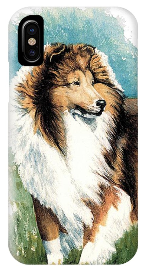 Shetland Sheepdog IPhone X Case featuring the painting Sheltie Watch by Kathleen Sepulveda
