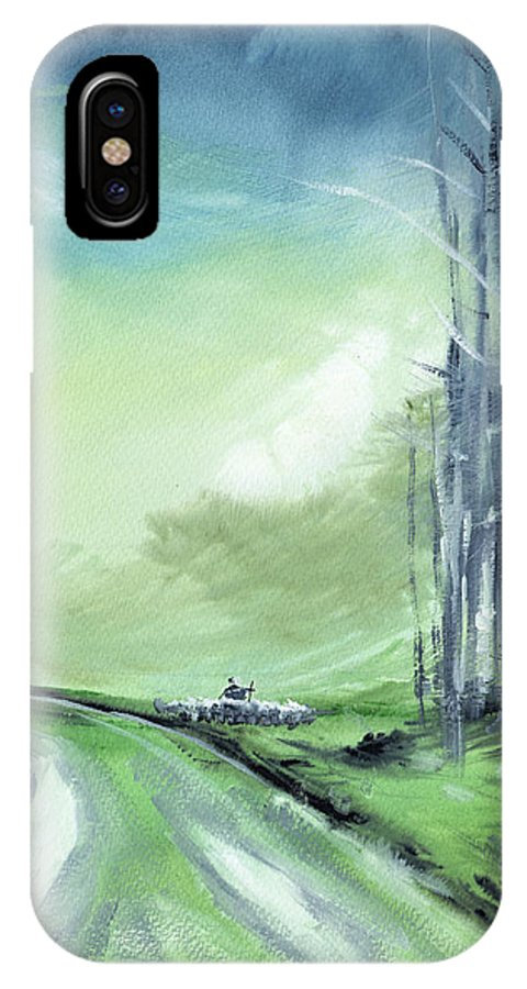 Nature IPhone X Case featuring the painting Shepherd 2 by Anil Nene
