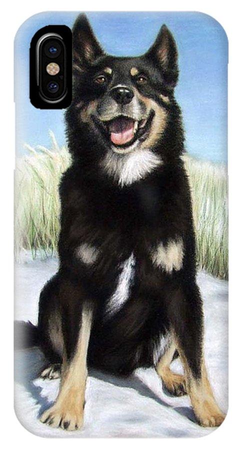Dog IPhone Case featuring the pastel Shepherd Mix Timmy by Nicole Zeug