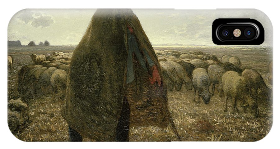 Animal IPhone X Case featuring the painting Shepherd Tending His Flock by Jean-Francois Millet