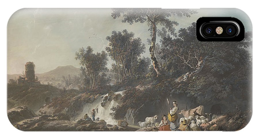 IPhone X Case featuring the drawing Shepherds Resting By A Stream by Jean-baptiste Pillement