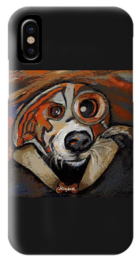 Dog IPhone X Case featuring the painting Sherdog Holmes by Regina Brandt