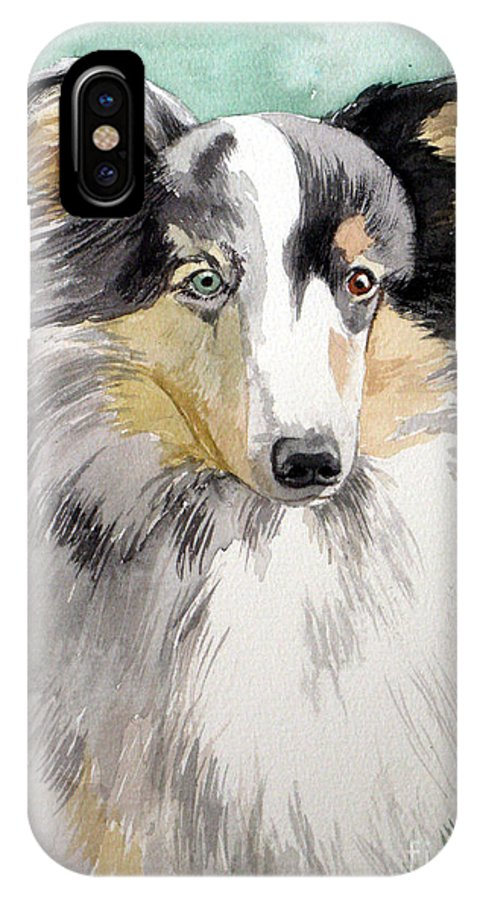 Dog IPhone X Case featuring the painting Shetland Sheep Dog by Christopher Shellhammer