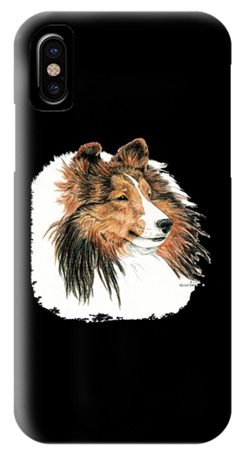 Sheltie IPhone X Case featuring the drawing Shetland Sheepdog, Sheltie Sable by Kathleen Sepulveda