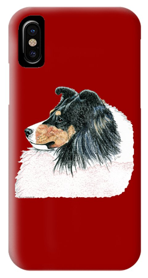 Sheltie IPhone X Case featuring the drawing Shetland Sheepdog, Sheltie Tri Color by Kathleen Sepulveda