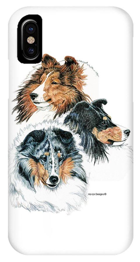 Shetland Sheepdog IPhone X / XS Case featuring the drawing Shetland Sheepdogs by Kathleen Sepulveda