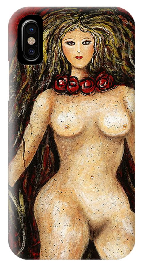 Nude IPhone X Case featuring the painting Shimara by Natalie Holland