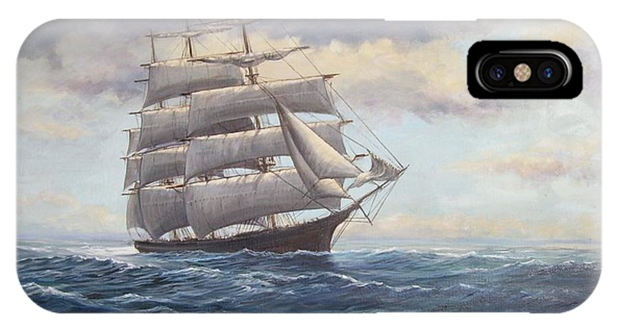 Square Rigger IPhone X Case featuring the painting Ship Coming Out Of Morning Fog by Perrys Fine Art