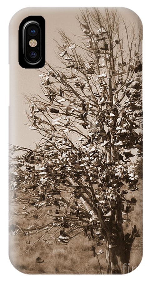 Sepia IPhone X Case featuring the photograph Shoe Tree In Sepia by Carol Groenen