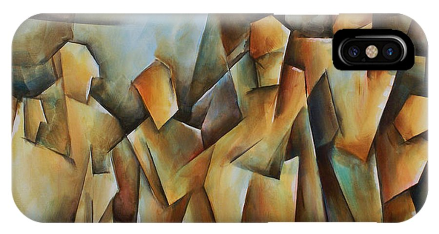 Contemporary Cubism IPhone X Case featuring the painting Show Me by Michael Lang
