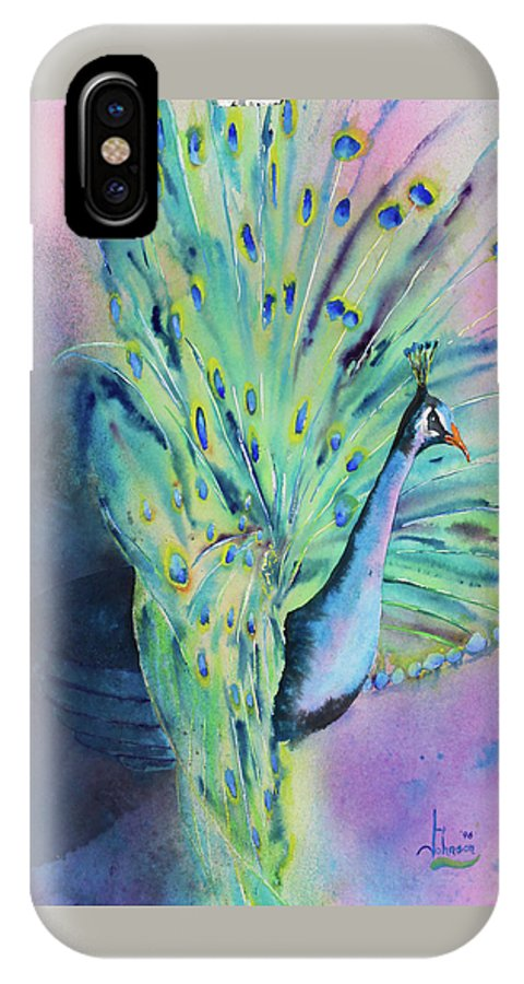 Exotic Birds IPhone X Case featuring the painting Showing Off by Larry Johnson