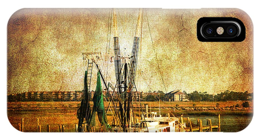 Shrimp Boat IPhone X Case featuring the photograph Shrimp Boat In Charleston by Susanne Van Hulst