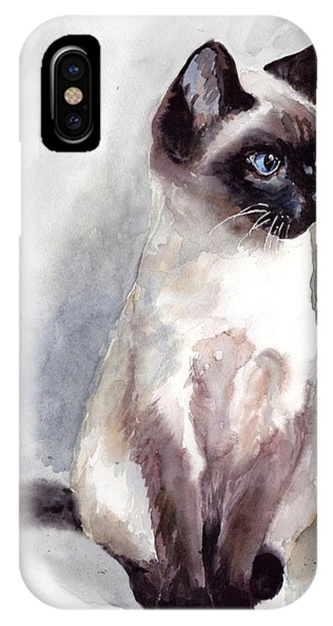 Little IPhone X Case featuring the painting Siamese Kitten Portrait by Suzann Sines