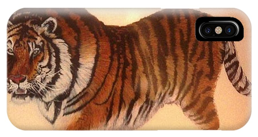 Art IPhone X Case featuring the drawing Siberian Snow Tiger by Rick Elam