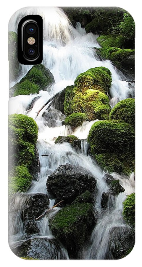 Green IPhone X Case featuring the photograph Side Of Clearwater Falls by Teri Schuster